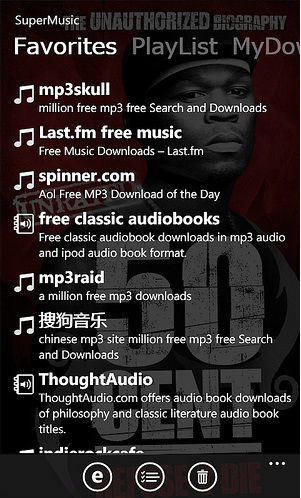 Descarga canciones y audio libros con SuperMusic para Windows Phone 7