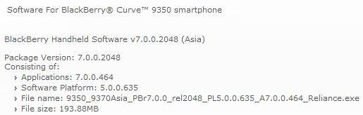 BlackBerry OS 7.0.0.464 Oficial de Reliance para BlackBerry Curve 9530