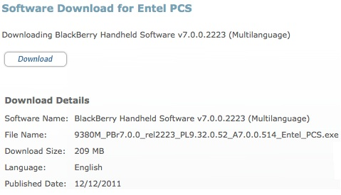 OS 7.0.0.514 Oficial de Entel PCS para BlackBerry Curve 9380