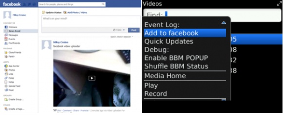 Subir videos a Facebook desde BlackBerry con Video Uploader for BlackBerry