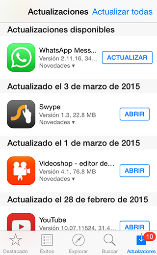 Actualizar WhatsApp iOS