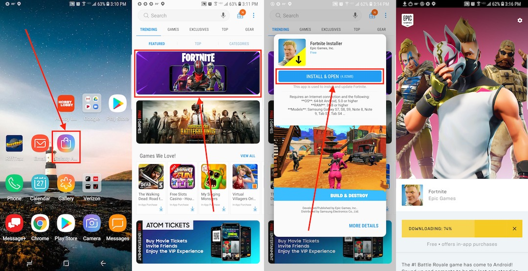 descargar fortnite en dispositivos samsung galaxy