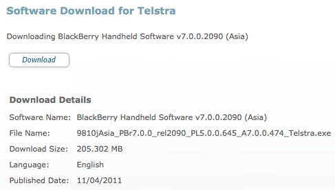 OS 7.0.0.474 Oficial de Telstra para BlackBerry Torch 9810