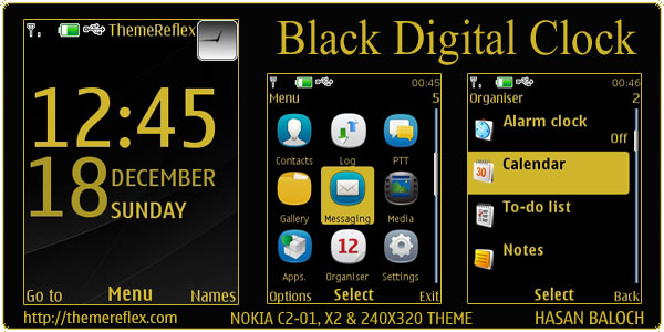 black-digial-clock-X2-theme