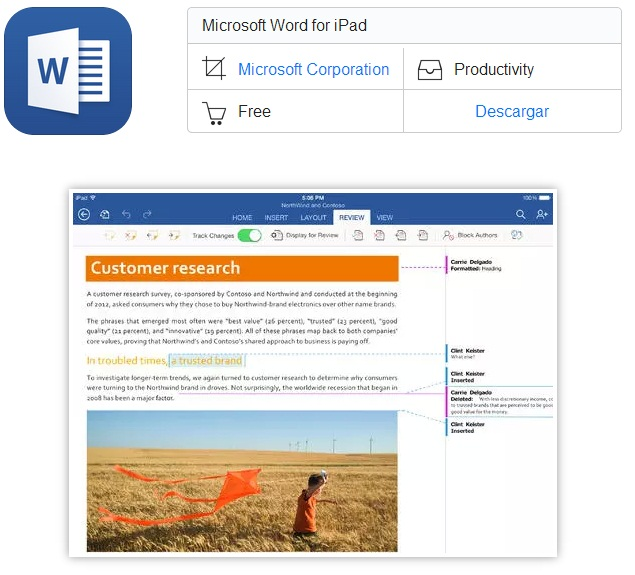 Microsoft Word, Excel y Power Point disponible para iPad (word)